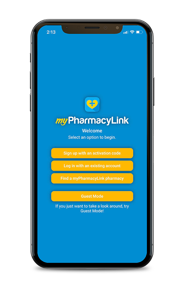 myPharmacyLink Activation screen